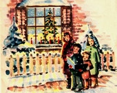 Vintage Christmas Card Children Caroling Window Tree Winter Scene