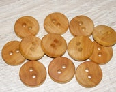 "12 Handmade  wood  Buttons , accessories (1,0"" diameter x 0,20"" thick)"