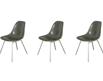 1960s Elephant Gray Eames Fiberglass Shell Chairs for Herman Miller