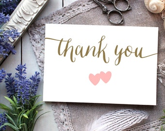 Thank you cards / wedding thank you card / calligraphy thank you card / instant download / printable file