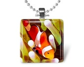 ON SALE Orange clown fish glass tile glass pendant, diving vacation, gift for fish lovers, choice of necklace or keychain,