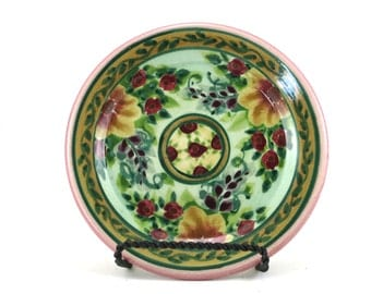 Porcelain Dinnerware - Handmade Floral Ceramic Plate - Pottery Dish for Dessert or Bread -Flower Design