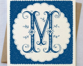 Hand Lettered Monogram Initial Card