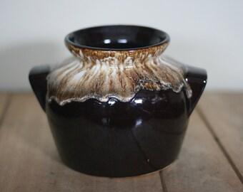 vintage brown dripware bean pot NO LID