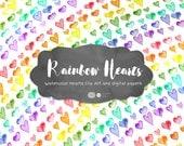 Watercolor Rainbow Hearts, Hearts Clipart, Watercolor Clipart, Valentines Clipart, Love Clipart, Romantic Clipart, DIY, Birthday Clipart