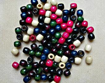 DESTASH Barrel Beads - 8x10mm - Mixed Color Dyed Wood - Autumn Hues - 110 beads