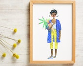 A4 Poster Print inspired by Columbia Rd Flower Market London A Girl in a Blue Coat Print