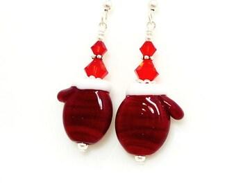 Red Mitten Earrings, Christmas Earrings, Lampwork Earrings, Beadwork Earrings, Holiday Earrings, Fun Earrings, Winter Glove Earrings