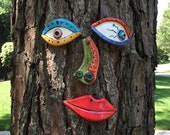 Picasso Inspired Tree Face - Original Unique Garden Art Yard  -  In Stock