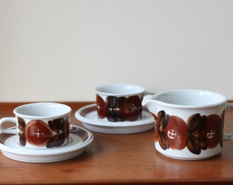 Vintage Arabia Finland Brown Anemone Espresso Cup and Saucer x2, Creamer, Signed, Scandinavian