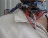 On Sale Chiffon Silk Scarf-Red Flower