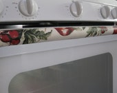Vinyl Set of 3 Handle Covers for Stove and Refrigerator-Fruits White Green Red