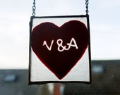 PERSONALIZABLE INITIALS Engraved Glass heart - Perfect Valentines gift!  Suncatcher, home decor