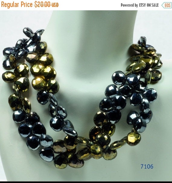 ON SALE Mystic Black Spinel Heart Briolettes Faceted Bronze Colored Black and Bronze Mined Gemstone - 15 Beads - 9 x 9mm to 9.5 x 9.5mm
