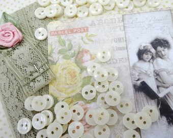 Sweet Tiny Baby Doll Diminutive Faux MOP Pearl Shell Ivory White Sewing Buttons Lot (100) Each Crafty Destash