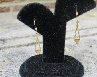 14K Gold Fill Chevron Triangle Earrings, Dangle, Fish Hook Earring