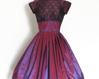 UK Size 8 Magenta and Blue Two-tone Shot Vintage Taffeta & Sparkly Brocade Party Dress - Made by Dig For Victory - RTS