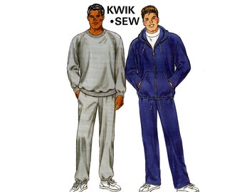 Kwik Sew 3028 Mens Tracksuit Jogging Suit Stretch Knit Top Hooded Jacket & Pants OOP Sewing Pattern Sizes S - XXL UNCUT Factory Folded