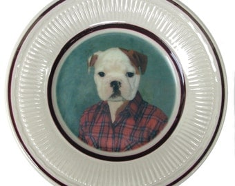 Buddy the Bulldog Portrait Plate - Altered Vintage Plate 6.5""
