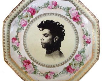 "Prince Portrait Plate - Altered Vintage Plate 12"""