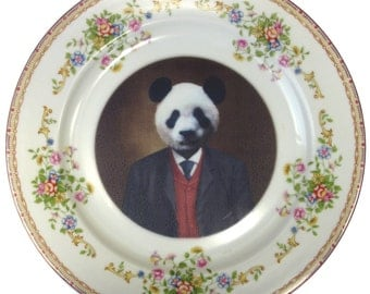 Parker the Prosperous Panda- Altered Vintage Plate 10""