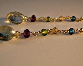 Multi Gemstone dangle earrings,drop earrings,gold earrings,gemstone earrings,birthstone earrings,blue topaz earrings,peridot earrings