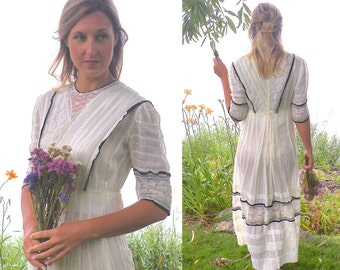 Edwardian Day Dress, Antique 1910s Cotton & Lace Dress with Ribbon Trim, Downton Abbey Dress, Antique Tea Dress
