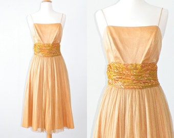 1960s Party Dress, Metallic Gold Dress, Vintage 60s Dress S - M