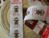 "Vintage unused novelty ribbon roll - Three Wise Monkeys - ""hear all""  ""see all""  ""say nothing"""