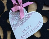 Pink happy anniversary gift card ceramic pottery heart