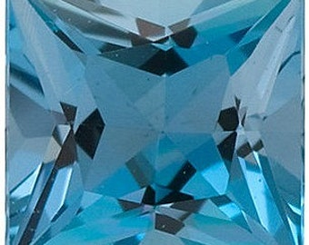 Faceted High Quality Blue Aquamarine Gem in Princess Shape Gemstone Grade AAAA, 3.50 mm in Size, 0.22 carats