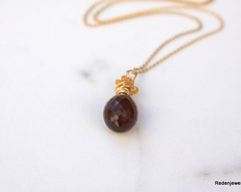 Chalcedony Necklace, Chocolate, Mandarin Garnet, 14K Gold Filled, Wire wrapped