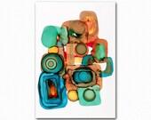 Art Print, Geometric Shapes Art Print, Contemporary Art Print Orange and Mint Green Art Print by Schad Studio