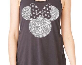 Minnie Tank -- Glitter Minnie Shirt --  Ladies Flowy Racerback Tank --  Bella Tank  -- Disney Shirt