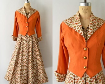 1950s Vintage Dress Set - 50s Fall Butterfly Dress and Bolero Jacket