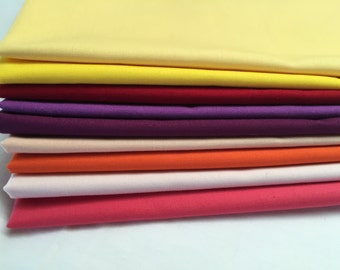 Nine Fat Quarter Cuts Kona Solids, Yellows, Purples, Orange, Pink Quilt Fabric, Craft Fabric, Sewing, Quilting, 100% Cotton Premium Fabric