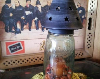 One Metal Star Cut Lamp Shade Regular or Wide Mouth Size Mason Ball Kerr Primitive  Wedding Decor Candles