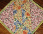 Mug Rug, Shabby Chic Pastel Blue Pink Yellow, Country Charm Small Table Mat, Snack Mat, Small Placemat, Handmade