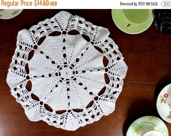 14 Inch Large Crochet Doily or Centerpiece in White, Hand Crocheted - 12275