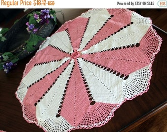 Table Topper, Vintage Linens, Large Crochet Centerpiece or Doily Pink and White 13334