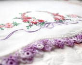 Vintage Embroidered Cotton Pillowcases, pink, purple, green. floral, crocheted