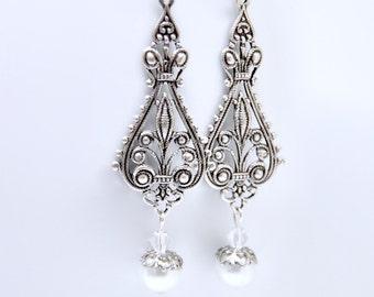 Long Antique Silver Pearl Earrings, Long Pearl Earrings, Chandelier Earrings, Vintage Style Bridal Jewelry, Elegant Filigree, Victorian