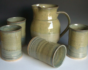 Hand thrown stoneware pottery pitcher/tumbler set of 5  (PS-1)
