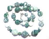 Green Beaded Necklace, Ceramic Jewelry, Kazuri Bead Necklace, Statement Necklace, Spearmint and Teal Neclkace