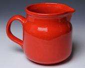 Fire Red Ceramic Pitcher - 60s Waechtersbach West Germany