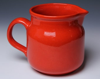 Fire Red Ceramic Pitcher - 60s Waechtersbach West Germany