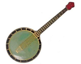 BANJO vintage enamel tie/hat pin pinback bluegrass music