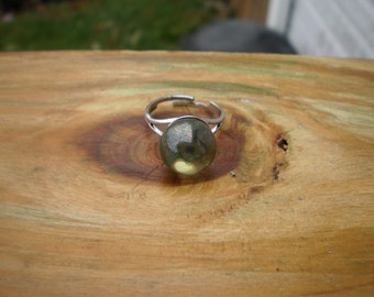 Yellow Sunshine Aura Quartz Sphere Adjustable Ring
