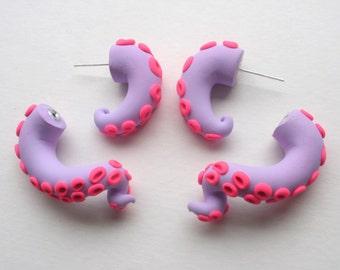 Lavender Pink Tentacle Earring - Fake Gauge- Octopus- Kraken