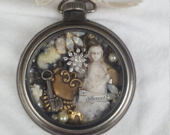 Frozen Charlotte Pocket Watch Pendant Necklace Mixed Media with Tiny Miscellaneous Parts